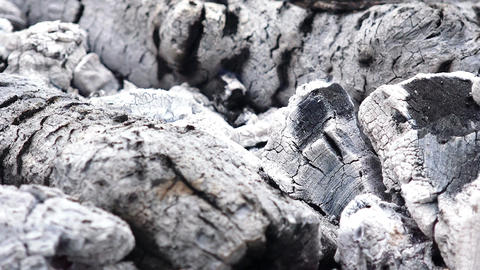 burned wood for barbeque, coals Footage