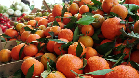 oranges and fruits in the marketplace, Italy Footage