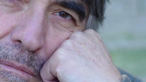 sad man portrait: closeup footage on his face expression Footage