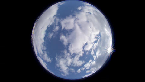 Earth like Fisheye daytime clouds timelapse Footage
