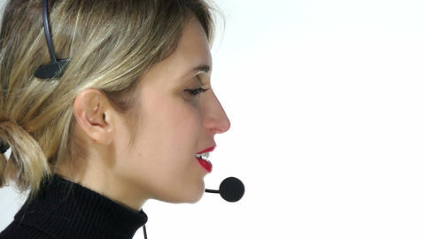 Call center operator at work Footage