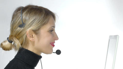 Telemarketing headset woman from call center. 4k Footage