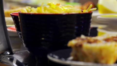 example of ethnic cuisine, japanese restaurant, sushi, sashimi, tempura Footage