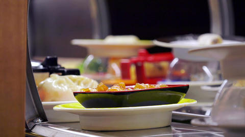 detail on packages and dishes available to customers in an ethnic restaurant Footage