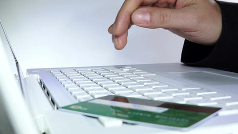 making on line shopping with credit or debit card Footage
