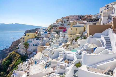 Sunny Summer Day and Santorini Terraces Fotografía