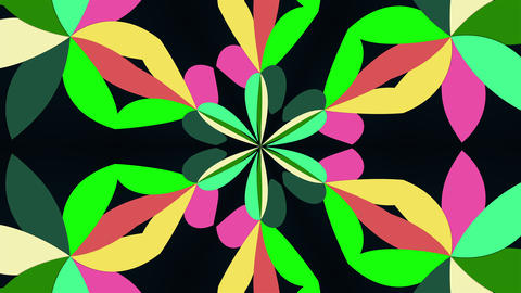 Kaleidoscope converts colors into a flower image, 3D rendering. Merging color Live Action