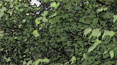 Autumn Landscape: Cartoon tree with billowing leaves Animation