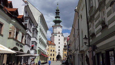 5 Michael's Gate In Bratislava City Center Slovakia Europe Live Action