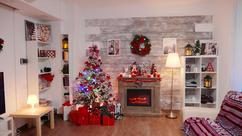 Living room decorated for christmas holiday Live Action