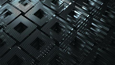 Revolving Black Isometric Cubes Technology Motion Background Animation