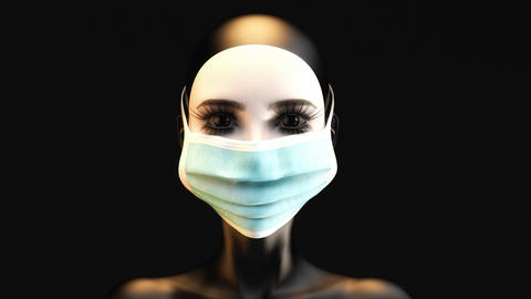 3D animation of a female face with protective mask Animation