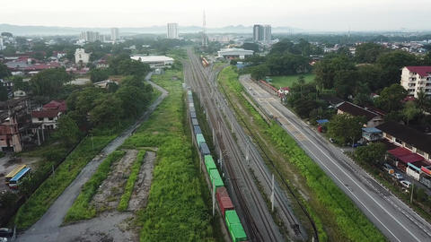 Container train at railway transport goods Live Action
