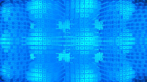 Broadcast Rotating Hi-Tech Cubes Grid Matrix, Blue, Technology, 3D, Loopable, 4K Animation