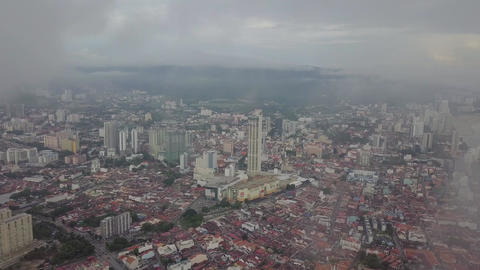 Aerial view KOMTAR building in early morning with morning fog Live Action