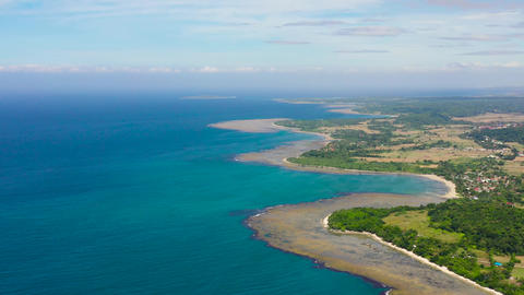 Agricultural fields and villages on the island, top view. Luzon Island Live Action