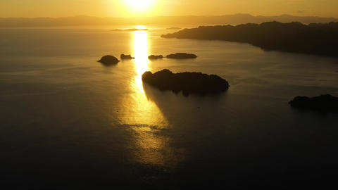 Sunrise over the sea in the tropics., top view. Sunrise over ocean. Philippines Live Action