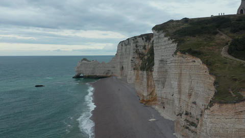 Incredible Forward Aerial alongside tall Cliff and Shoreline in France Live Action