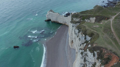 Etretat Cliffs Birds Eye Overhead View with Sea Gulls above shoreline and Ruff Live Action