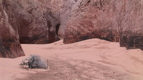 Medium-shot of a sandy, canyon floor at the base of granite canyon walls Footage