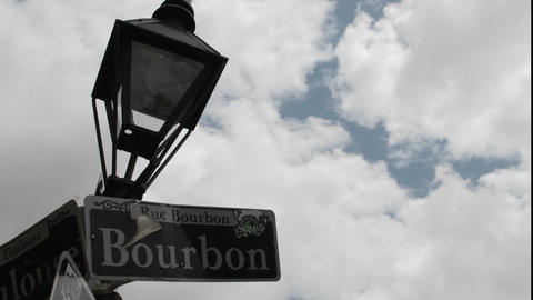 Time lapse shot of Bourbon Street sign in New Orleans, Louisiana Footage