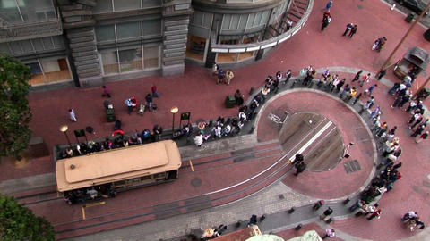 Time-lapse over a cable car station in San Francisco Stock Video Footage