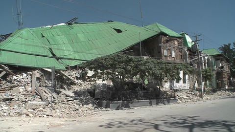 Collapsed buildings following the Haiti earthquake Stock Video Footage