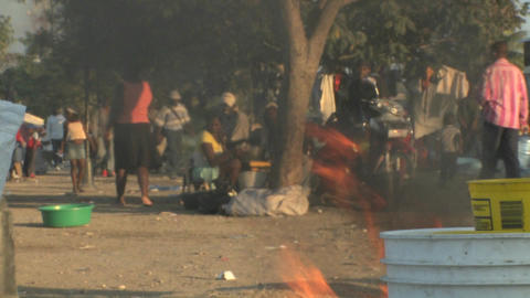 Fires burn on the streets of Haiti following the e Stock Video Footage