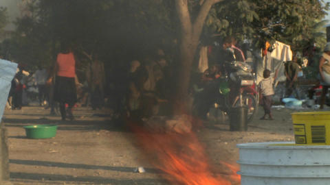Fires burn on the streets of Haiti following the e Footage
