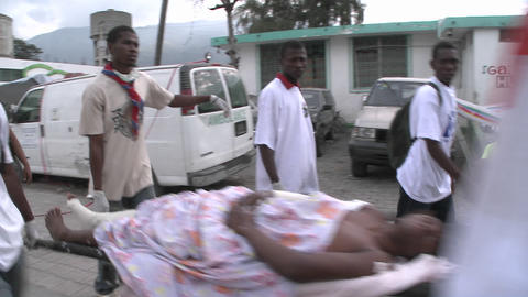 A body is transported on the street with a stretch Stock Video Footage