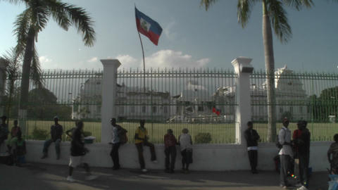 The rubble of the Presidential Palace in Haiti fol Stock Video Footage