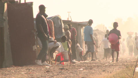 A refugee camp in Haiti Stock Video Footage