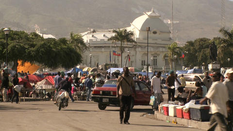 Chaos and damage on the streets of Port Au Prince  Footage