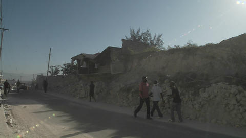 Rubble lines the streets following the earthquake  Footage