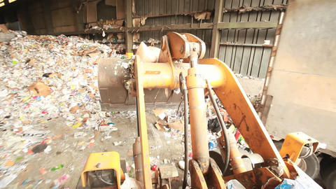 A POV shot of a recycling center Stock Video Footage