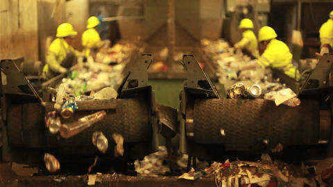 Excellent shot of workers in a recycling center so Stock Video Footage