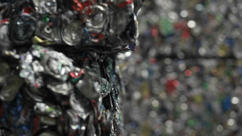 Patterns of crushed aluminum cans in a recycling c Footage