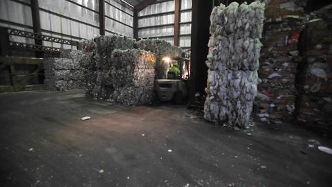 Aluminum cans are recycled at a center Stock Video Footage