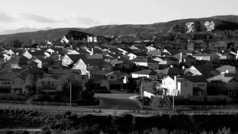 Black and white shot of an upscale suburban neighb Footage