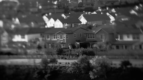 Soft focus shot of a black and white upscale subur Footage