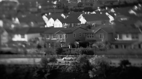 Soft focus shot of a black and white upscale subur Stock Video Footage