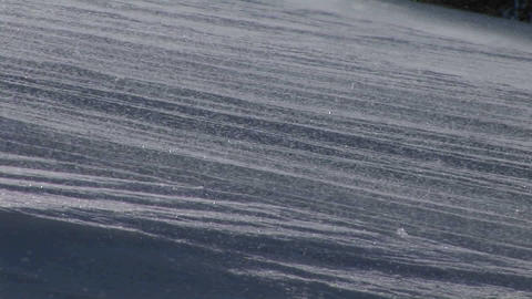 Panning-shot of blowing snow on a slope Stock Video Footage