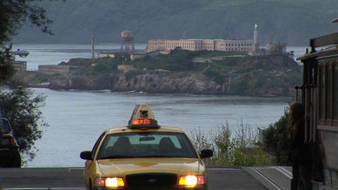 Long-shot of Alcatraz Island from a steep San-Francisco street Footage
