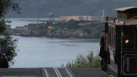 Long-shot of Alcatraz Island from a steep San-Francisco... Stock Video Footage