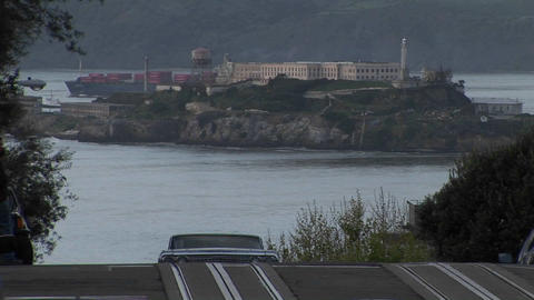 Long-shot of Alcatraz Island from a steep San Francisco... Stock Video Footage