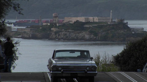 Long-shot of Alcatraz Island from a steep San Francisco street Footage