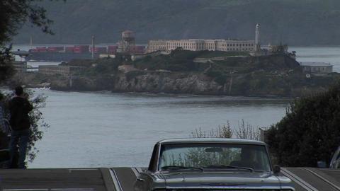 Long-shot of Alcatraz Island from a steep San Francisco... Stock Video Footage