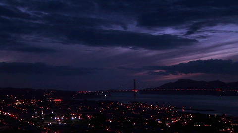 Panning shot the San Francisco area at night Footage
