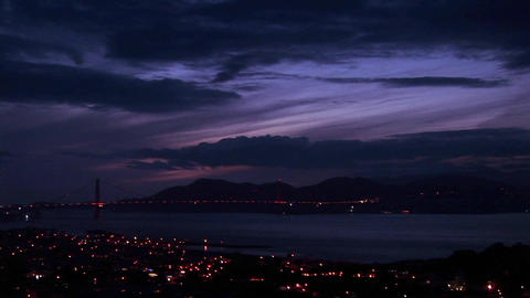 Panning shot the San Francisco area at night Stock Video Footage