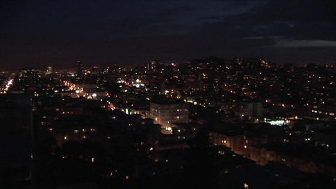 Panning shot the San Francisco area at night Footage